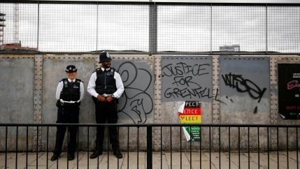 Police officers on patrolduring the Notting Hill Carnival in London. Phototaken onAugust 27, 2018.
