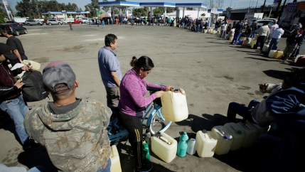 hundreds of people stand in line at a gas station on a sunny day