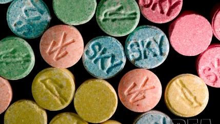 several multi-colored MDMA pills