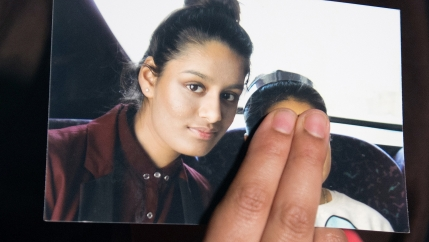Renu Begum, sister of teenage British girl Shamima Begum who left the UK to join ISIS, holds a photo of her sister as she makes an appeal for Shemima to return home