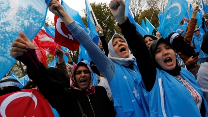 Demonstrators wave Turkish and East Turkestan flags as they shout slogans during a protest against China, in Istanbul, Turkey November 6, 2018.