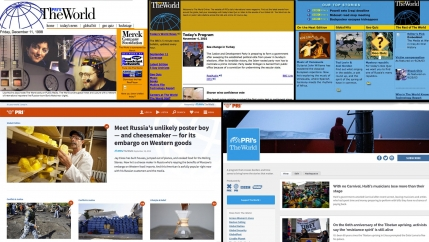 A collage of five screen grabs of The World's website since 1998.