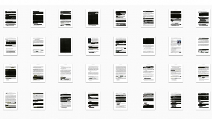 Four rows of 8 small pages of the Mueller report are displayed in a grid. Several are redacted — one is completely redacted.