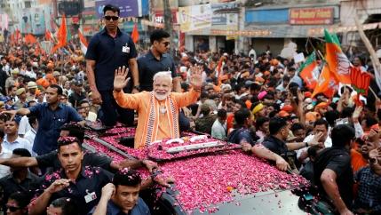 India's Premier Modi in a street celebration