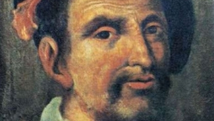 A painted portrait of Christopher Columbus' son, Hernando Colón,