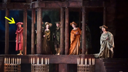 "Iggy Berlin (far left) as one of the Verona townspeople (with fellow supernumeraries) in ""Romeo and Juliet."""