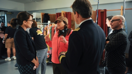 "Beth McCarthy-Miller (center) on the set of ""30 Rock"" with Tina Fey (left) and guest star Matt Damon (right)."