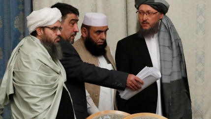 Members of the Taliban delegation take their seats during the multilateral peace talks on Afghanistan in Moscow, Russia November 9, 2018.