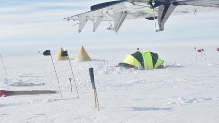Two yellow tents and a larger dome tent are staked into the snow. At the top of the image is a wing of a tiny prop plane.
