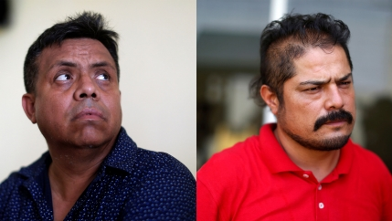 Close-up photos of Irineo Mujica, left, and Cristobal Sanchez at news conferences after their release in Tapachula, Mexico.