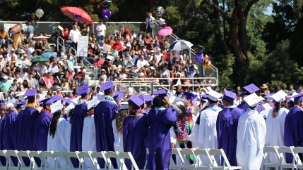 A high school graduation in Northern California
