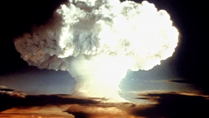 A mushroom cloud from a nuclear bomb.