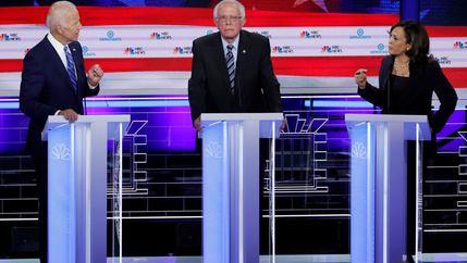 Joe Biden, Bernie Sanders, and Kamala Harris at a Democratic primary debate.