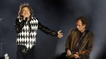 Mick Jagger, left, and guitarist Keith Richards perform during the kick-off show of the Rolling Stones'