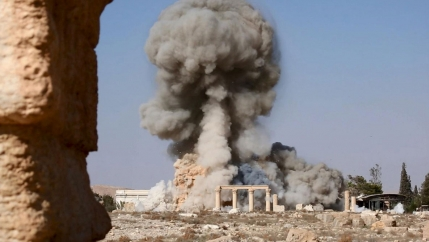 An image distributed by ISIS militants on social media purports to show the destruction of a Roman-era temple in the ancient Syrian city of Palmyra