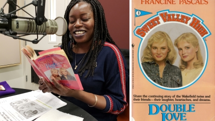 "Bim Adewunmi reads from a ""Sweet Valley"" book in the Studio 360 studios; the first ""Sweet Valley High"" book, by Francine Pascal."