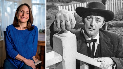 "The author Karen Russell and the actor Robert Mitchum playing the Reverend Harry Powell in ""The Night of the Hunter."""