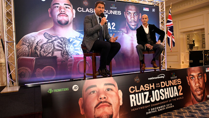 Promoter Eddie Hearn announces Clash on the Dunes, a boxing rematch in Saudi Arabia between heavyweights Andy Ruiz, Jr and Anthony Joshua.