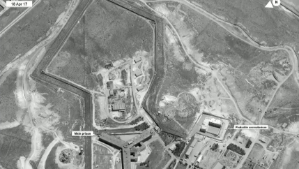 A satellite view of Sednaya prison complex near Damascus, Syria, May 15, 2017.