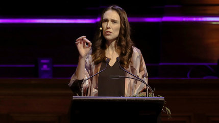 New Zealand Prime Minister Jacinda Ardern delivers a speech.