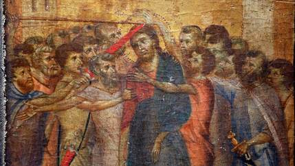 A renaissance-era painting shows Jesus surrounded by other people, some of whom are holding swords