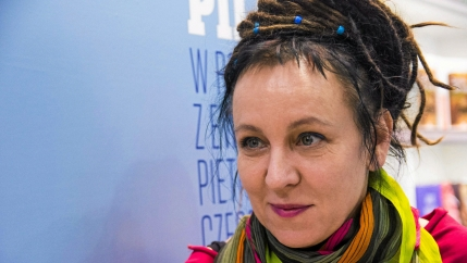 Writer Olga Tokarczuk appears at a book fair.