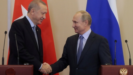 Russian President Vladimir Putin, right, shakes hands with Turkish President Recep Tayyip Erdogan, left, during their joint news conference following Russian-Turkish talks in the Black sea resort of Sochi, Russia, on October 22, 2019.
