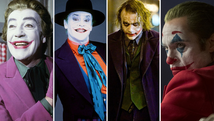 Send in the clowns: Cesar Romero, Jack Nicholson, Heath Ledger, Joaquin Phoenix.