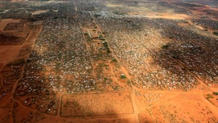 An aerial view shows makeshift shelters at the Dagahaley camp in Dadaab, near the Kenya-Somalia border in Garissa County, Kenya, on April 3, 2011.