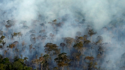 Smoke billows during a fire in an area of the Amazon rainforest near Porto Velho, Rondonia State, Brazil, Sept. 10, 2019. Picture taken Sept. 10, 2019.