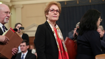 Marie Yovanovitch, former U.S. ambassador to Ukraine, departs after concluding her testimony before a House Intelligence Committee hearing as part of the impeachment inquiry into US President Donald Trump on Capitol Hill in Washington, on November 15, 201