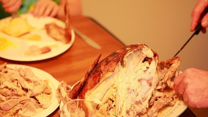 A person carves a turkey