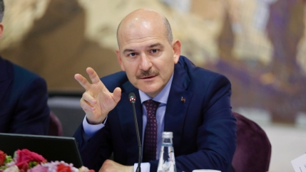 Turkish Interior Minister Süleyman Soylu speaking at a press conference.
