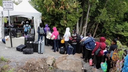 line of asylum-seekers