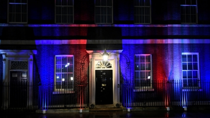 10 Downing Street is illuminated on Brexit day in London