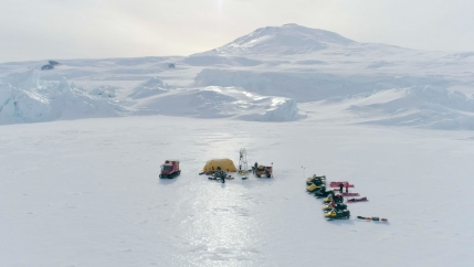 A tent stands on Antarctica's sea ice.