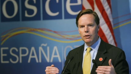 Nicholas Burns, then US Undersecretary for Political Affairs, gestures during a news conference at the end of the Organization for Security and Co-operation in Europe (OSCE) ministerial meeting in Madrid, on November 30, 2007.