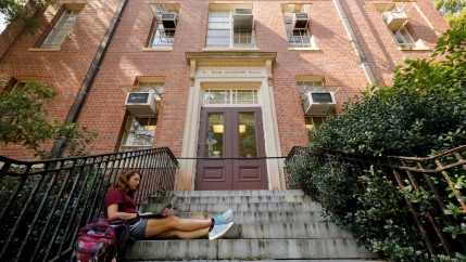 student on steps