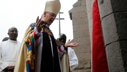 Archbishop of Canterbury Justin Welby prays outside the church after attending a special service at the Anglican Church of Kenya St. Stephen's Cathedral in Nairobi, Kenya January 26, 2020.