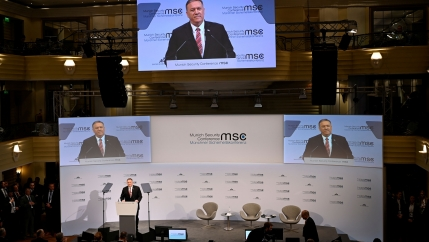 US Secretary of State Mike Pompeo speaks at a podium