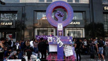 People gather in a memory of seven-year-old Fatima Cecilia Aldrighett, who went missing and whose body was discovered inside a plastic bag, at an anti-femicidemonument, inMexicoCity,Mexico,Feb. 19, 2020.