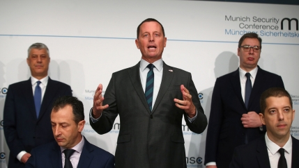US ambassador to Germany Richard Grenell, Kosovo's President Hashim Thaci and Serbia's President Aleksandar Vucic attend the Munich Security Conference in Munich, Germany, Feb.14, 2020.