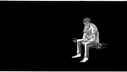 A comic of a sitting man with a black background
