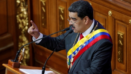 Venezuela's disputed President Nicolas Maduro gestures as he speaks during a special session of the National Constituent Assembly to deliver his annual state of the nation speech, in Caracas, Venezuela, Jan.14, 2020.