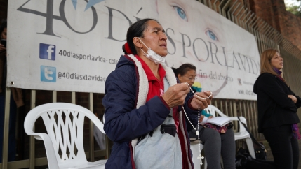 Volunteers from the conservative group 40 Days for Life pray outside an abortion clinic in Bogotá, Colombia, on Wednesday, Feb. 26, 2020.
