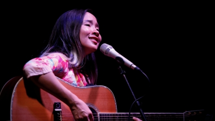 Vietnamese singer Do Nguyen Mai Khoi sings at a performance in Hanoi, Vietnam, May 21, 2016.