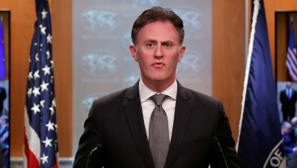 Ambassador Nathan Sales speaks during a news conference at the State Department in Washington, DC, on Nov. 14, 2019.