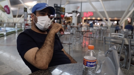 Fernando Guedes, a mechanical technician, recently passed through the Val de Cans International Airport in northern Brazil. He's concerned about returning home to São Paulo, which has been hard hit by the coronavirus.