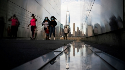 People visit the Empty Sky Memorial