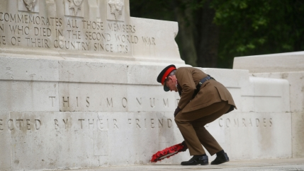 A officer lays a poppy wreath